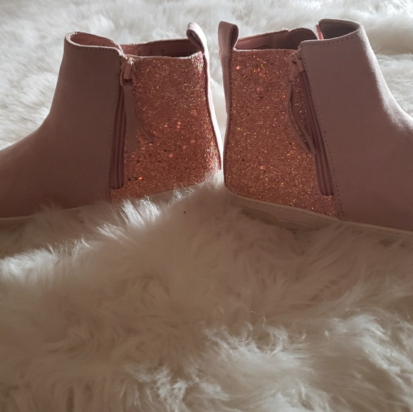 Brand new pink glitter booties